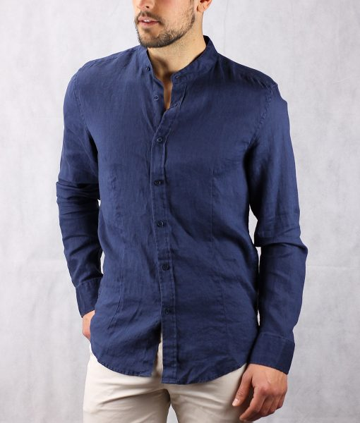 camisa lino marino