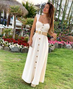 vestido beige